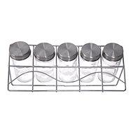 Orion Gewürzgläser Glas/Edelstahl 5 Stück+Ständer chrom MATT - Gewürzglas-Set