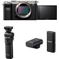 Sony Alpha A7C Silber + GP-VPT2BT Griff + ECM-W2BT Mikrofon - Digitalkamera