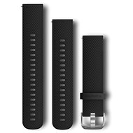 Garmin Quick Release 20 Silikonband shwarz, silberne Schnalle - Armband
