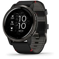 Garmin Venu 2 Slate/Black Leather Band - Smartwatch