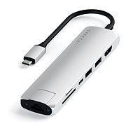 Satechi Aluminium Type-C Slim Multiport (1xHDMI 4K,2x USB-A,1x SD,1x Ethernet) - Silver - Port-Replikator