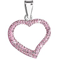 Rose přívěsek srdce dekorovaný krystaly Swarovski 34093.3 (925/1000; 0,8 g) - Anhänger