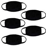 STX Baumwolltuch ohne Aufdruck - schwarz (5 Stück) - Gesichtsmaske