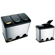 Toro Mülleimer aus Edelstahl mit Kunststoffdeckel für sortierten Abfall, 24 Liter - Abfalleimer