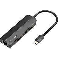 Vention Typ C (USB-C) auf 3 x USB 2.0 / RJ45 / Micro-B HUB - 0,15 m - schwarz - ABS Type - USB Hub