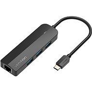 Vention Typ C (USB-C) bis 3 x USB 3.0 / RJ45 / Micro-B HUB 0,15 m - schwarz - ABS Type - USB Hub