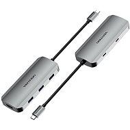 Vention USB-C zu HDMI / USB-C 3.2 Gen 1 / USB 3.0 x 3 / PD Docking Station 0,15 m - Gray Aluminum - Port-Replikator