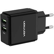 Vention Dual Quick 3.0 USB-A Wall Charger (18W + 18W) Schwarz - Netzladegerät