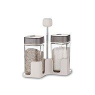 BANQUET Gewürz-Set für Salz und Pfeffer QUADRA 100ml, 3-teilig, grau - Gewürzglas-Set