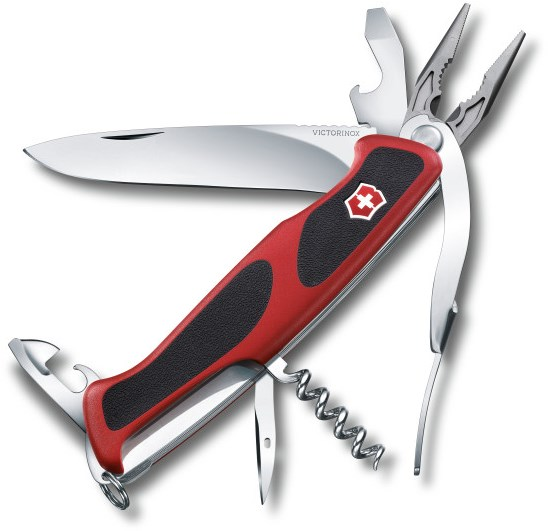 Kapesní nůž, velká čepel, vývrtka, otvírák na konzervy, otvírák na láhve, kleště, nerezový kroužek na klíče, pinzeta, párátko