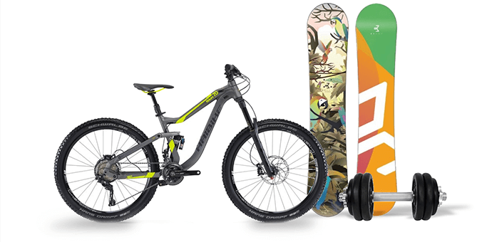 Mountainbikes, Snowboard, Hantel