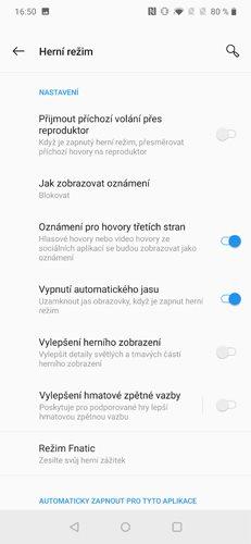 OnePlus 7 Pro Herní režim