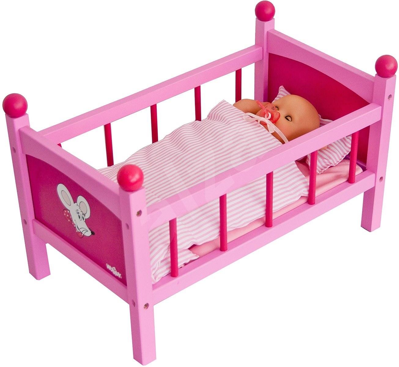 puppenbett aus holz mit bettzeug trendy zubeh r f r puppen. Black Bedroom Furniture Sets. Home Design Ideas