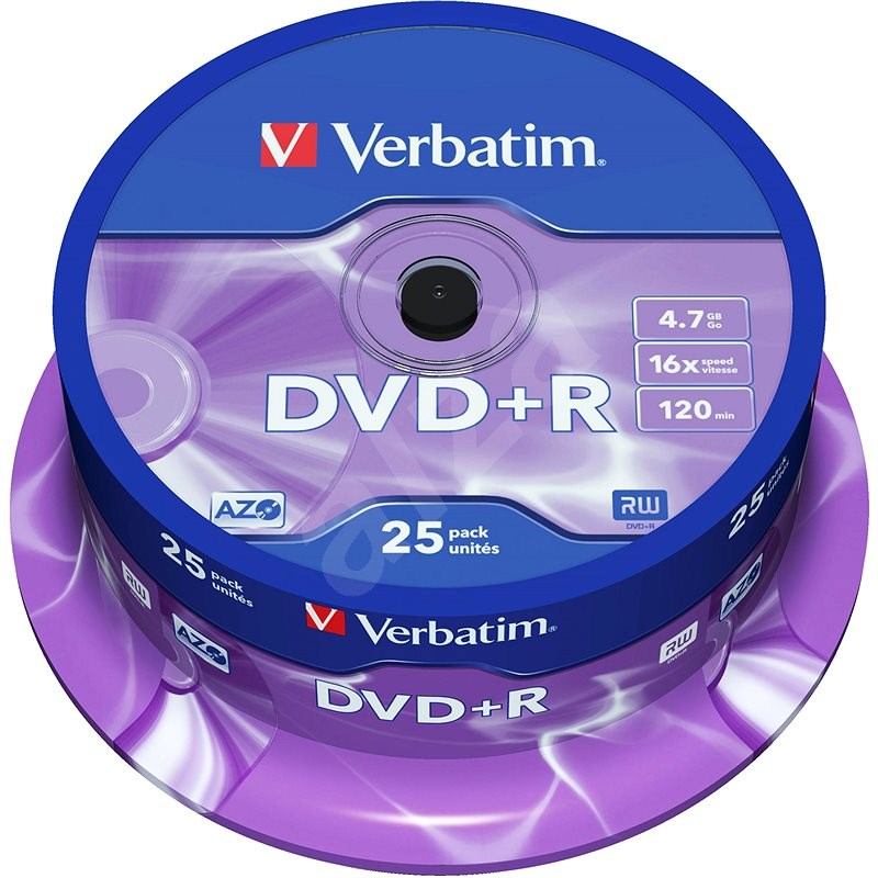VERBATIM DVD + R AZO 4,7 GB, 16x, Spindel 25 Stück - Media