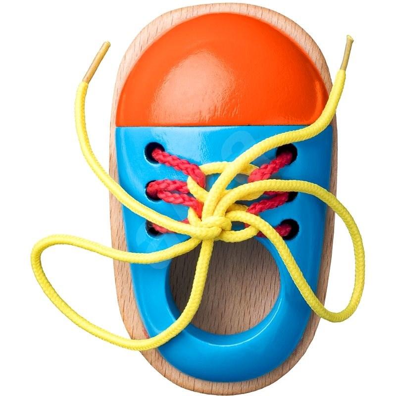 Woody Schuh mit Schuhbändern - Didaktisches Spielzeug