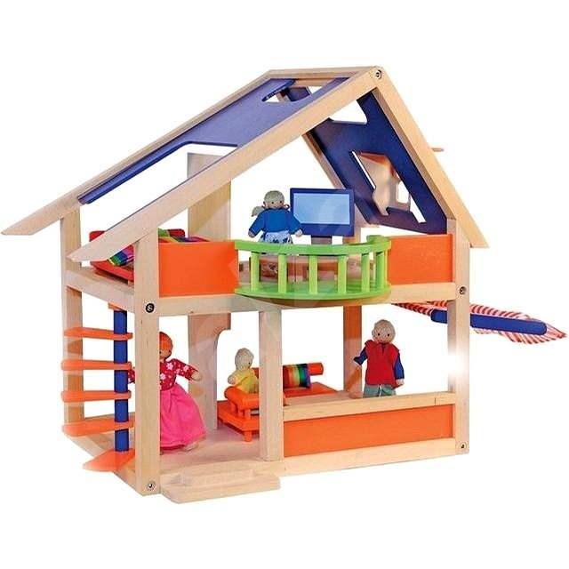 Woody Puppenhaus mit Markise - Zubehör für Puppen