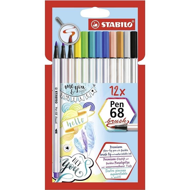 STABILO Pen 68 Pinsel 12 Farben - Filzstifte