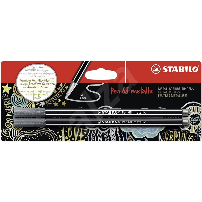 STABILO Pen 68 Metallic 2 pcs Silver in Blister - Felt Tip Pens