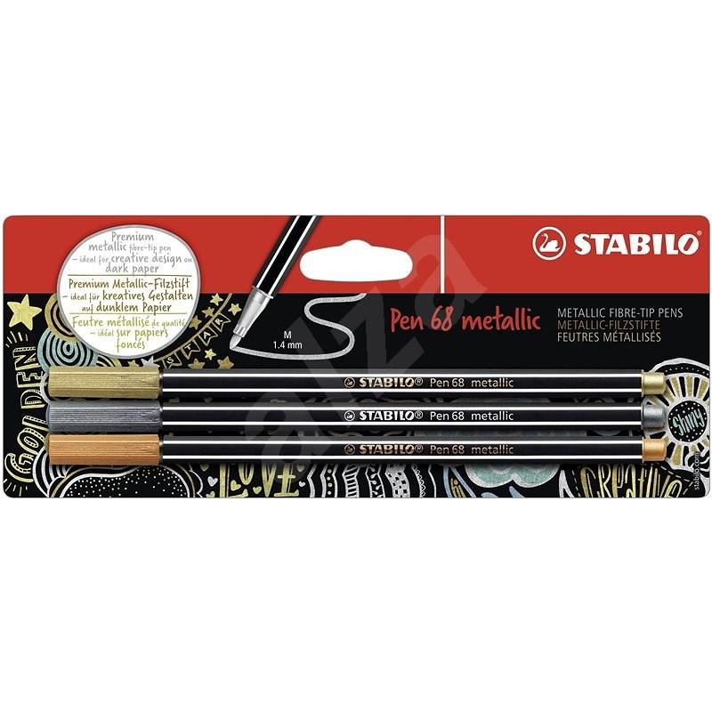 STABILO Pen 68 Metallic 3 pcs, Gold, Silver and Copper in Blister - Felt Tip Pens