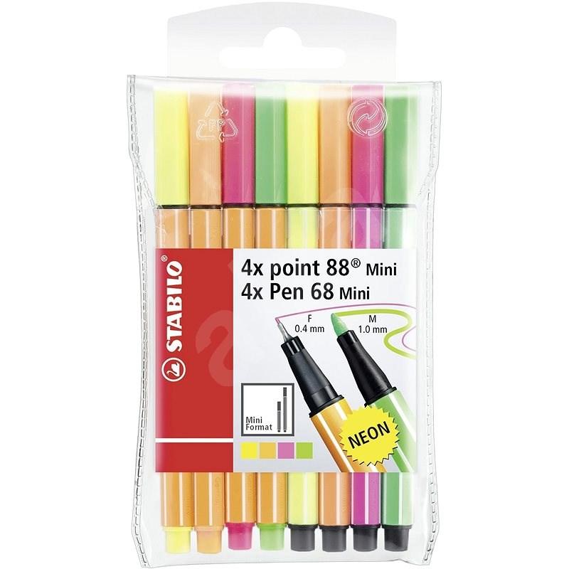 STABILO point 88 Mini / Pen 68 Mini neon 8 pcs case - Felt Tip Pens