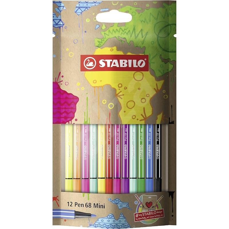 STABILO Pen 68 Mini mySTABILO Design 12 pcs Set - Felt Tip Pens