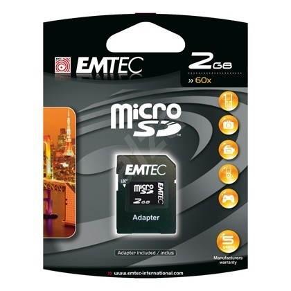 EMTEC Micro SD 2GB + SD adapter - Speicherkarte