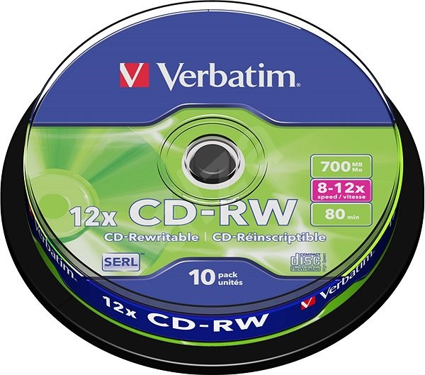 Verbatim CD-RW 10x, 10er Cakebox - Media