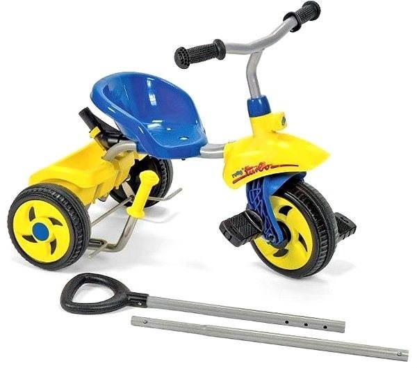 Rolly Toys Rolly Pedal Trike Dreirad mit Schubstange Turbo - Blau - Trettraktor
