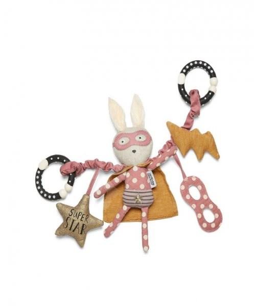 Hängendes Kaninchen mit Star Superhero Pop - Kinderwagenspielzeug