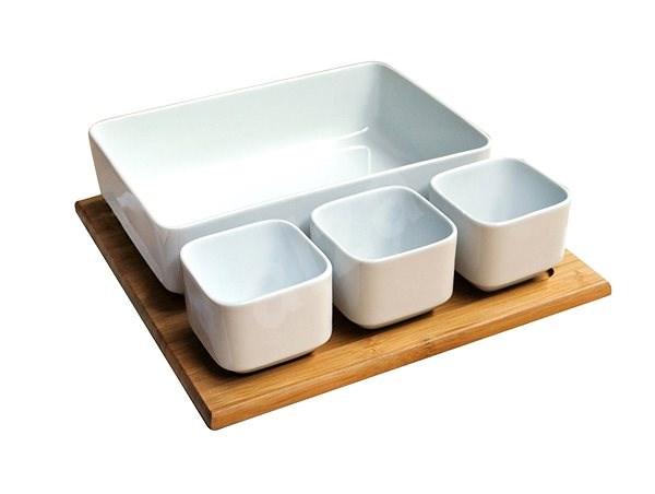 Toro Set Salat + Bambus Tablett, Keramik - Tablett