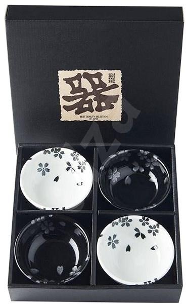 Made In Japan Schalen Set Black & White Sakura 100 ml 4 Stk - Schüssel-Garnitur