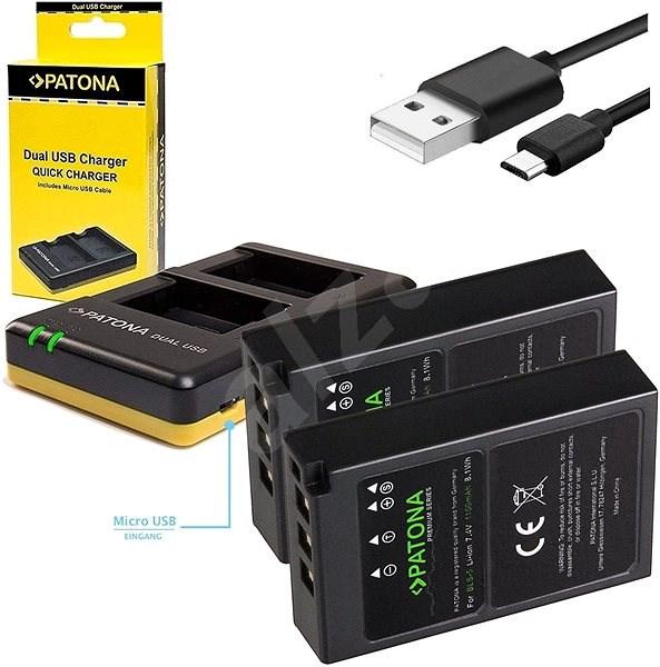 PATONA Foto Dual Quick Olympus BLS5 + 2x 1100mAh Akku - Batterie-Ladegerät