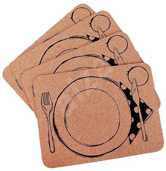 TORO Platz-Set 4-teilig - Motiv: Teller und Besteck - Kork - 40 cm x 30 cm x 0,3 cm - Gedeck