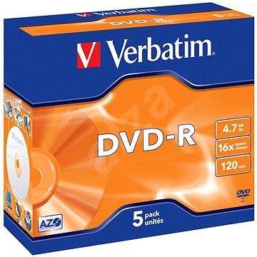 Verbatim DVD-R 4,7GB 16x Packung mit 5 Stück im Jewel Case - Media