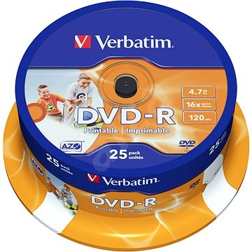 DVD-R Verbatim Printable 4,7GB 16x Speed 25 Stk Cakebox - Media
